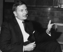 David Rockefeller, then chairman of Chase Manhattan Bank, speaks at the Chase Investment Forum in London in 1963.
