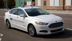 A Ford Fusion development vehicle equipped with autonomous controls, seen at a test facility Tuesday in Ann Arbor, Mich.