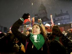 Women protest in Buenos Aires on Thursday in support of decriminalizing abortion as Argentine lawmakers debated the measure, which was defeated in the Senate.