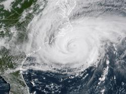 A satellite image shows Hurricane Florence on the eastern coast of the United States on Friday.