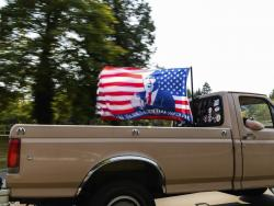 "Vehicles make their way along Interstate 205 South during the ""Oregon for Trump 2020 Labor Day Cruise Rally"" earlier this month at Clackamas Community College in Oregon City."